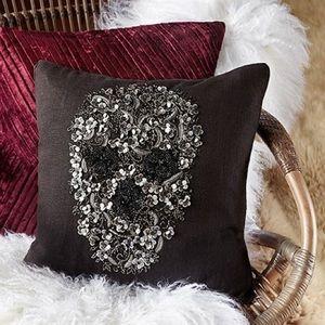 Arhaus Museum Beaded Skull Pillow in black